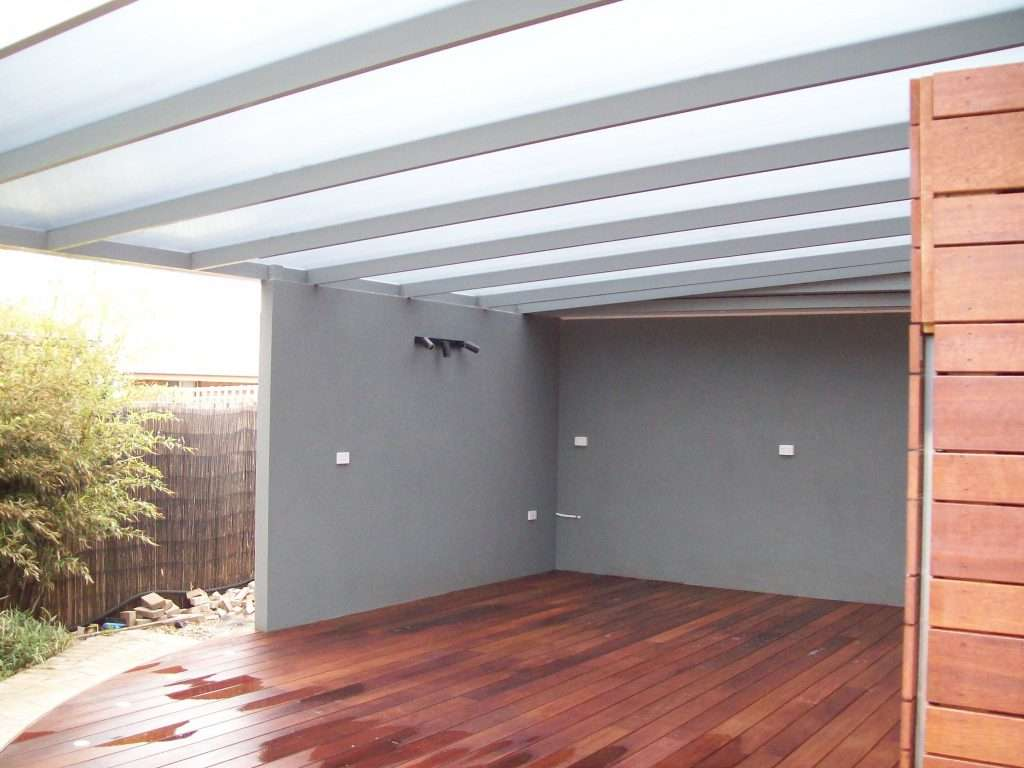Flat Roof (Skillion) Alumunium Spanbar Veranda with Sunpal Multi Roofing and Merbau Deck