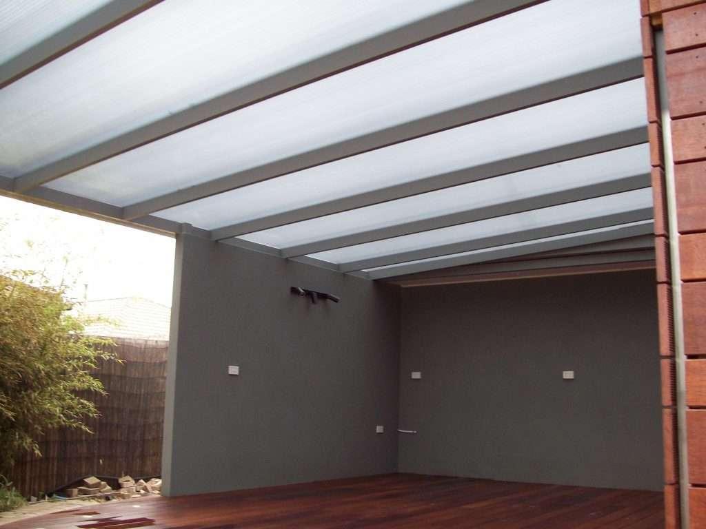 Flat Roof (Skillion) Alumunium Spanbar Veranda with Sunpal Multi Roofing and Merbau Deck (2)